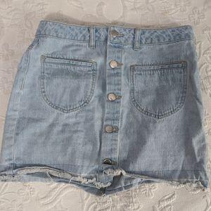 Lightwash Blue Denim Skirt Silver Button
